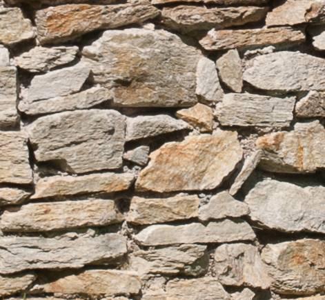 Nahaufnahme des Material Trockensteinmauer